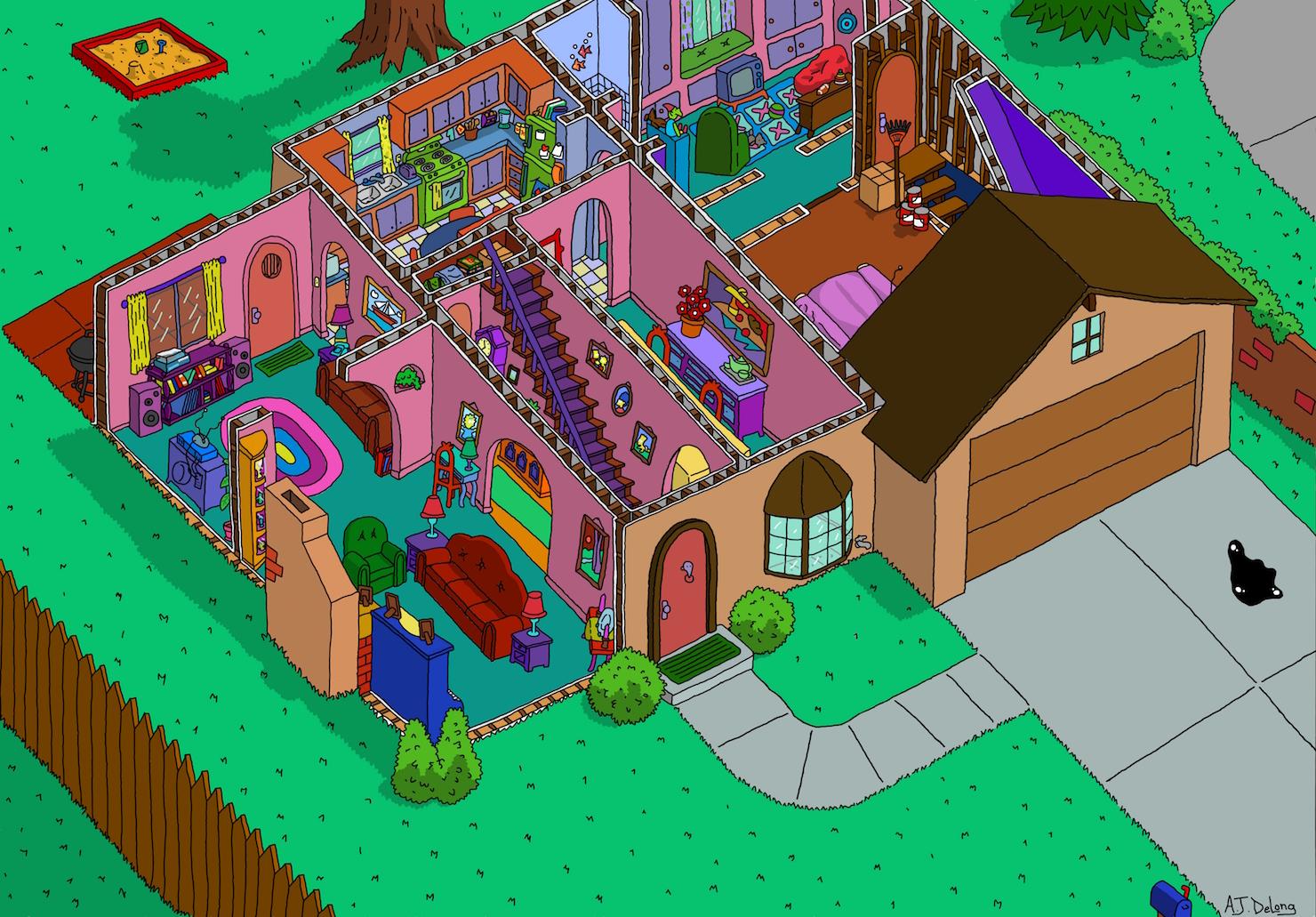 Planta do primeiro andar da casa dos Simpsons