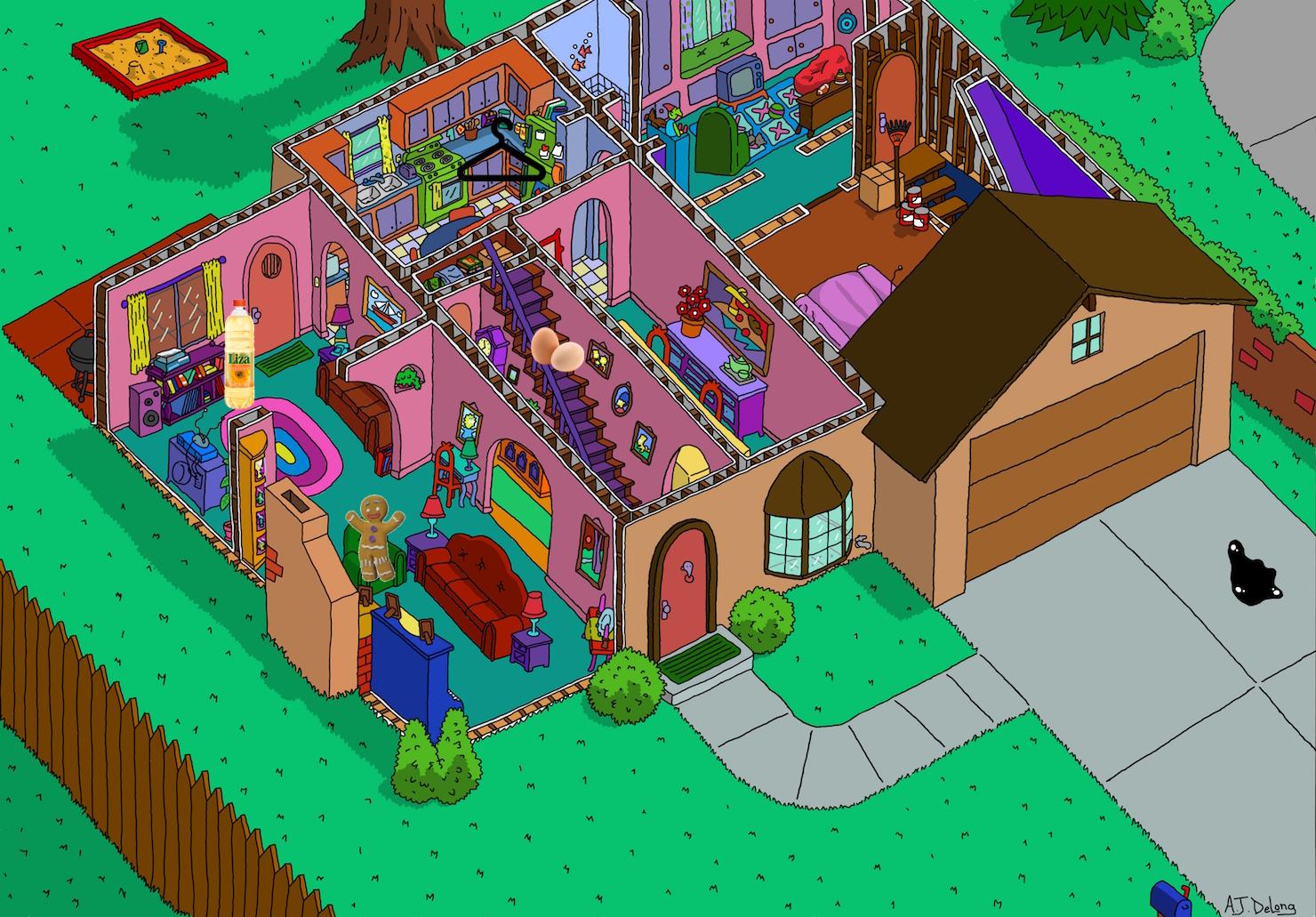 Planta do primeiro andar da casa dos Simpsons com os itens