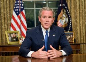 Bush na sala oval da Casa Branca